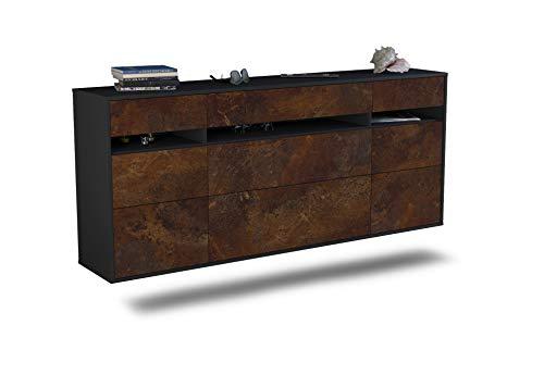 Dekati Sideboard Manchester hängend (180x77x35cm) Korpus anthrazit matt | Front rostigen Industrie-Design | Push-to-Open | Leichtlaufschienen