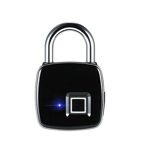 Fingerabdruck Vorhängeschloss, Bluetooth-Verbindung Metall IP65 Wasserdicht Smart Vorhängeschloss mit USB Ladekabel Geeignet für Haus Tür, Koffer, Rucksack, Fitnessstudio, Bike, Büro