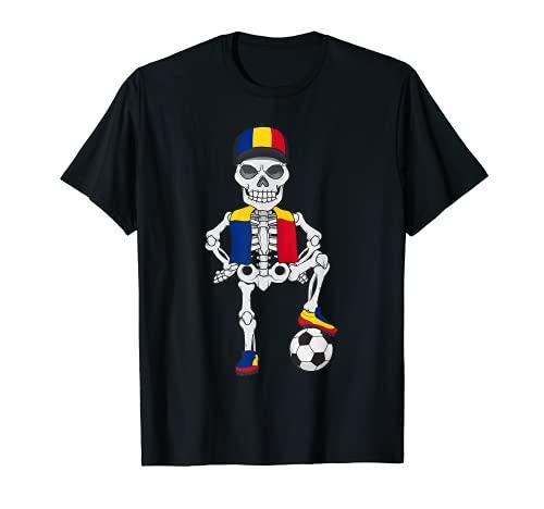 Rumänien Fußball Skelett Fan Mannschaft T-Shirt