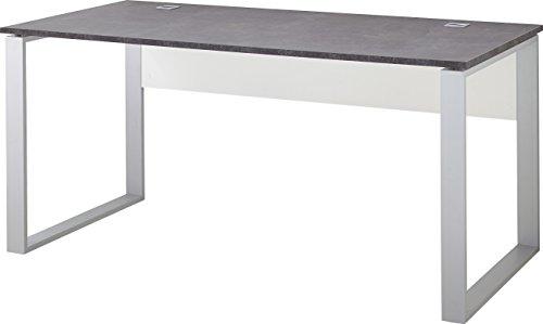 Germania 4150-261 Schreibtisch GW-Altino in Weiß/Basalto-Dunkel, 160 x 75 x 80 cm (BxHxT)