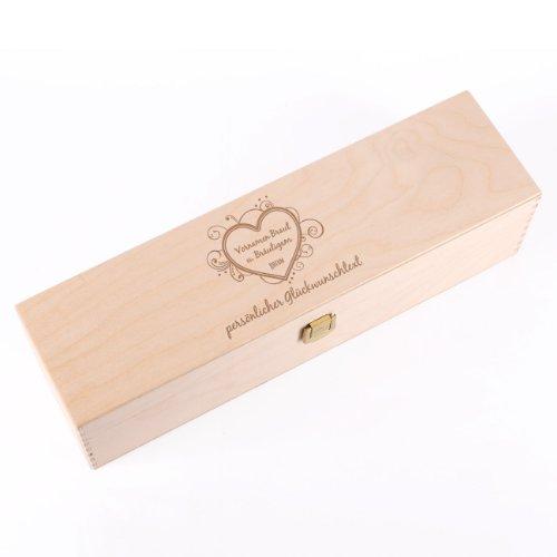 Cera & Toys® Weinbox aus Holz mit gratis Gravur der Namen Datum + Text - Hochzeit
