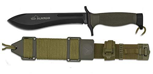 Cuchillo Alacran Negro Hoja 18 cm para Caza, Pesca, Camping, Outdoor, Supervivencia y Bushcraft Albainox 32383 + Portabotellas de regalo