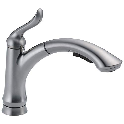 Delta Faucet Linden Single-Handle Kitchen Sink Faucet with Pull Out Sprayer, Arctic...