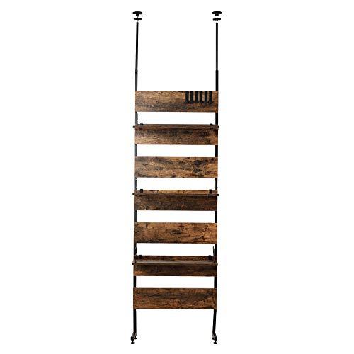 アイリスプラザ 突っ張り 棚 突っ張り棒 ラック 木目調 幅65cm 収納棚 おしゃれ 壁面収納 ウォールラック ウッドウォールラック 木目 ラダーラック LDLK-2600BN