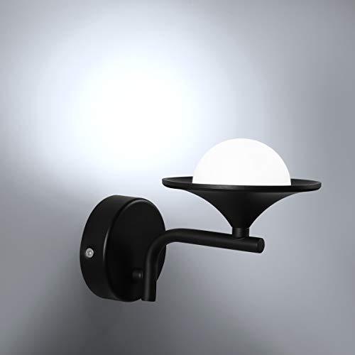 HAWEE Creativo Moderno LED Lámpara de Pared Interior Apliques de Pared LED Luz de Pared Minimalista Decoración de Hierro Forjado para Dormitorio, Sala, Pasillo, Escaleras, Café, 6000K Negro