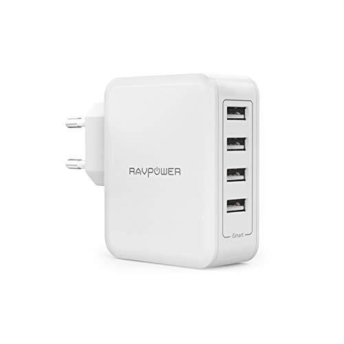RAVPower USB Ladegerät 40W 4 Port USB Netzteil 5V/8A Mehrfach USB Ladestecker für iPhone 11 Pro Max XS Max XR X 8 7 6, iPad, Galaxy S9 S8 Plus, LG, Huawei, HTC, Smartphones, Tablets usw.