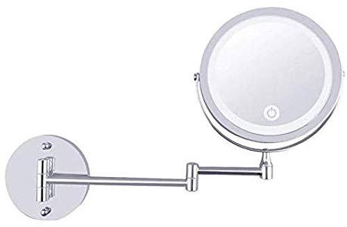 Générique Miroir de Maquillage LED Illuminée avec Un grossissement de 1x / 10x USB Miroir de Maquillage Tactile Rechargeable Miroir grossissant pivotant à 360 ° Pliable