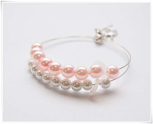 Reihenzähler Armband Stricken Häkeln Rosa Weiß