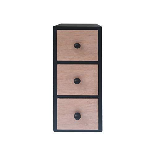 Rebecca Mobili Mini-Kommode aus Holz, Schumuckkommode mit 3 Schubladen, helles Holz Schwarz, modernes Design, Organizer für Schreibtisch Bad Küche – Maße: 34,5 x 11,5 x 10 cm (HxLxB) – Art. RE6283