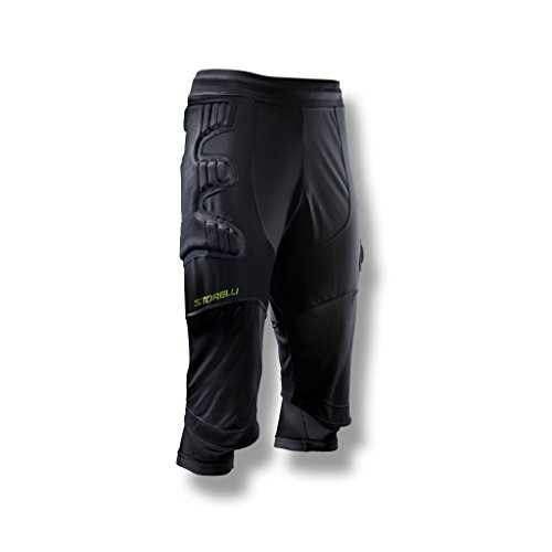 Storelli ExoShield Goalkeeper 3/4 Pants 1.0 | 3/4-Length Padded Soccer Pants | Premium Hip and Knee Protection | Black | Medium