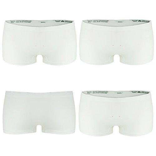 L&K-II 4er Pack Damen Boxershorts Panties in Weiß GR. S/M Unterwäsche Hot Pants