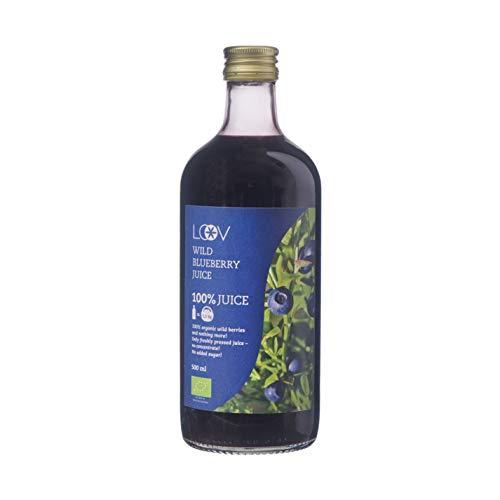 LOOV Bio Wildheidelbeersaft, 500 ml, aus nordischen Wäldern, hoher Gehalt an Antioxidantien, 100% direkt gepresste Heidelbeeren, nicht aus Konzentrat, ohne Wasser- und Zuckerzusatz