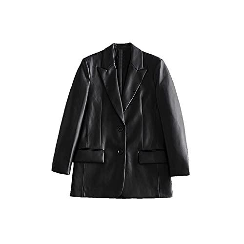 Chaqueta de cuero de las señoras chaqueta de cuero negro dos botones chaqueta de cuero de imitación