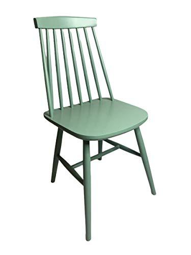 Satz von 2 Stühlen Massivholz Esszimmerstuhl, Küchenstuh, Holzstuhl Gastro Qualität (Hellgrün) Fameg in Europa hergestellt.