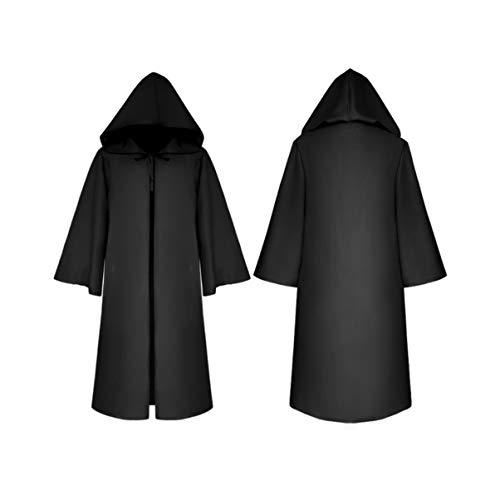 Clispeed - Capa con capucha para niños, capa con capucha negra, capa con capucha de vampiro pirata, para Navidad, disfraces, cosplay, Halloween, accesorios para fiestas M
