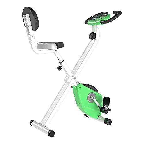 homcom Cyclette Magnetica Pieghevole in Acciaio con Altezza e Intensità Regolabile, Schermo LCD, Verde, 43x97x109cm