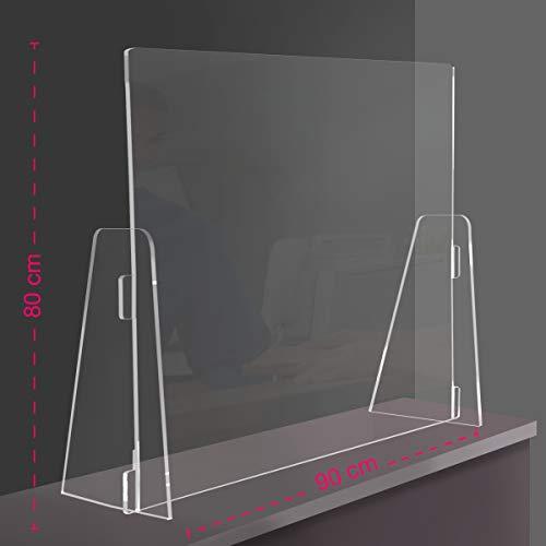 Generico Parafiato/parasputi da banco PPN - Parete divisoria per la Sicurezza in plexiglass Trasparente Copertura Totale (90x80cm)