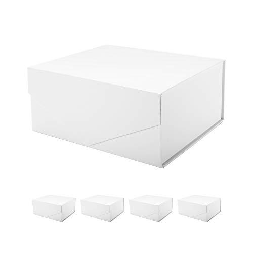 PACKHOME Rechteckige Geschenkbox 24x17,5x10 cm, Trauzeugen-Box, rechteckige Faltschachtel mit Magnetverschluss für Geschenkverpackungen (Weiß mit Prägung, 5 Boxen)