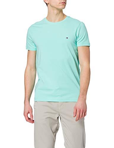 Tommy Hilfiger Stretch Slim FIT tee Camiseta, Miami Aqua, XL para Hombre