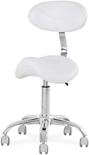 LRXG polsterstuhl Sattel Stuhl Hocker Nagel Schönheitssalon Haar Drehklinik Zahnarzt Spa Massage Komfortable Ergonomische Arbeit Stuhl Master Arbeit Hocker Multifunktionsstuhl(Color:Weiß)