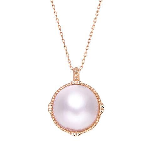 Ouken - Colgante para mujer, color rosa de oro y perla