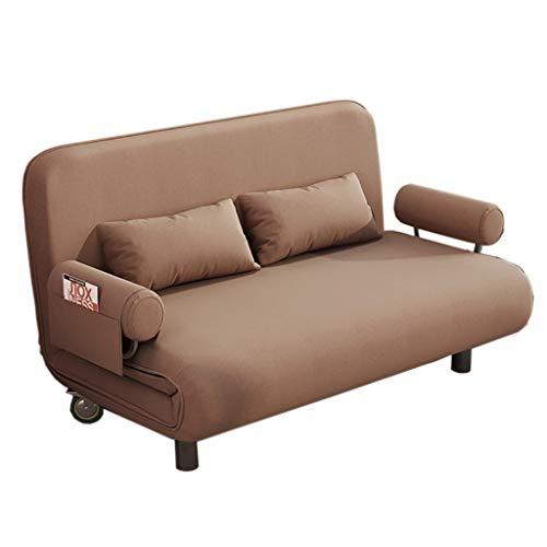 Sofá Lazy Couch Cama Doble Uso de la Sala Multifuncional Plegable Cama Individual Economía Apartamento pequeño Dormitorio pequeño Perezoso (Color : Brown)