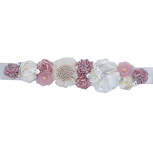 Afrsmw Cinturón para Vestido de Novia con Pedrería Perlas Flor Mujer Niña...