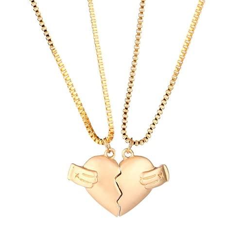 XIGAWAY 2 unids/set caliente amantes corazón colgante cadena pareja collar fuerte distancia magnética para novia hombres mujeres, Tela,