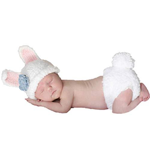 Conjunto de pantalón y gorro para bebé, hecho de ganchillo e ideal para sesiones de fotos blanco conejo blanco Talla:recién nacido