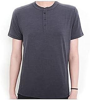 Fbnzmluqdx Tshirt for Men Men T Shirt Short Sleeve Base Layer Midweight Top Thermal Men Sports T Shirt Size (Color : DK Gr...