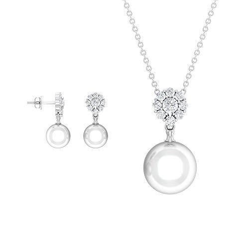 Juego de joyas de perlas y diamantes 16,96 quilates, colgante y aretes de oro (8 mm, perla redonda de agua dulce de 10 mm), 14K Oro blanco, perla de agua dulce-10