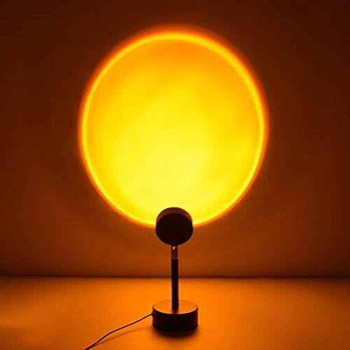 Sunset Lámpara LED para dormitorio con iluminación de noche romántica puesta de sol lámpara LED para salón dormitorio, boda, cumpleaños fiesta 90 grados de rotación (Sunset)