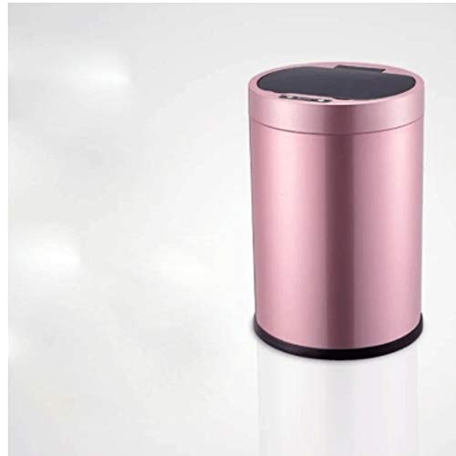 Miilleimer Vollautomatische Intelligent Sensor Trash Can, Dual-Mode Charging, Touch-Delay-Off, Geeignet for Home Bad, Küche, Schlafzimmer, Wohnzimmer (Color : Pink)
