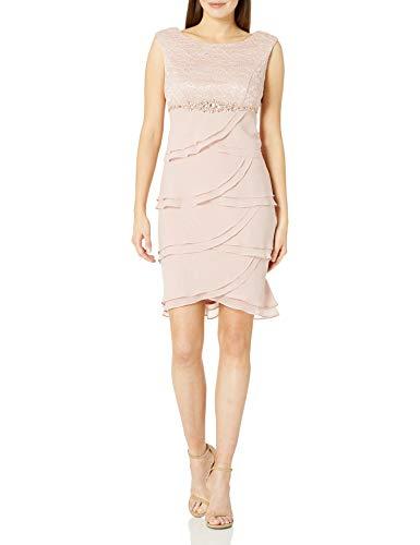 Jessica Howard Damen Beaded Waist Artichoke Dress Kleid, Blush, 44