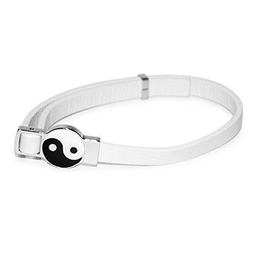 Yin Yang Emoticon Energie Magnet Lederarmband Energetix 4you 22131 weiß Länge verstellbar bis 22,5 cm Breite 7 mm + Schmuckbeutel