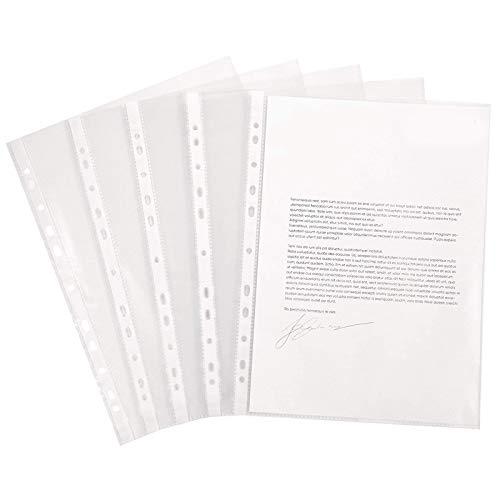 Sobres Perforados para Tarjetas A4 Bolsa de Documentos de Transparentes Fundas de Plástico Perforadas A4 Carpetas Para Archivo A4 100 unidades para Documentos,Certificados,Recibos,Oficina y Escolar
