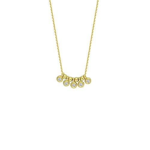 14Karat Gelbgold 0,05DWT Diamant Gartenmöbelset, runder Charms Center verstellbar Halskette–46cm