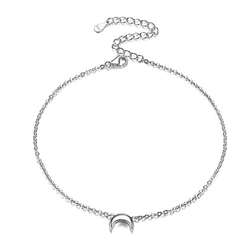 925 Sterling Silver Moon Anklet for Women Ankle Bracelet Foot Chain Summer Beach Jewelry
