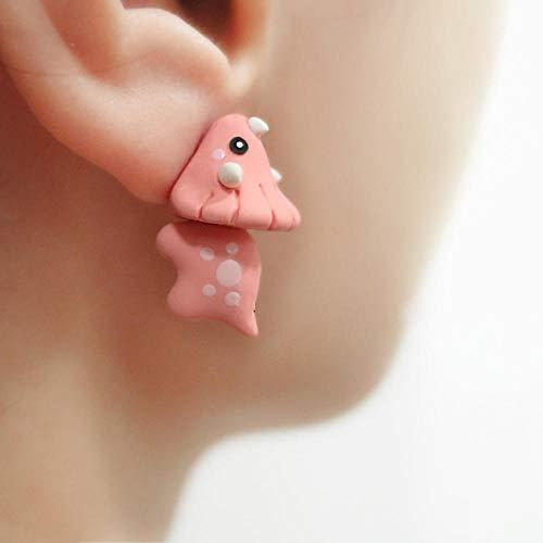 HBHBS Argile Polymère Mignon Rose Dinosaure Boucles d'oreilles pour Les Femmes Filles Bijoux De Mode 3D Kawaii Animal Stud Enfants Cadeau Boucles d'oreilles