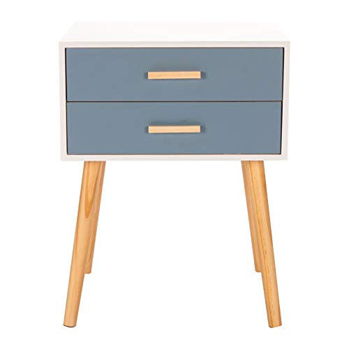 Cosy7 Melrose Collection Assembled Solid Wood 2 Drawers Pine Bedside Table Cabinet Blue   Metal Runners, Shabby Chic Retro Nightstand   Real Wooden Frame   Smooth Paint Finish