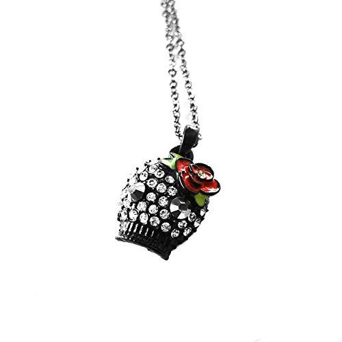Bejeweled negro azúcar calavera collar con detalle de flor y ojos de cristal [Dia de los muertos]