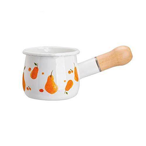 GFDFD 10 mini lata para uso doméstico, olla para la leche de calentamiento rápido, olla para salsa esmaltada, suplemento alimentario, calentador de ollas de cocina (color: B)