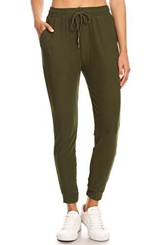 LA12ST Women's Soft Jogger Pants Drawstring Pockets Olive