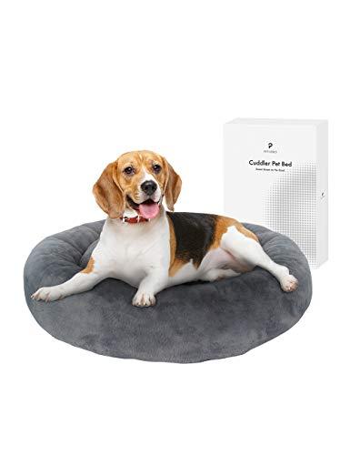 PETLIBRO Lugnande hundsäng munk – gosig rund plysch hundsäng, mjuk uppvärmning inomhus för små medelstora hundar och katter, bekväm sovbädd