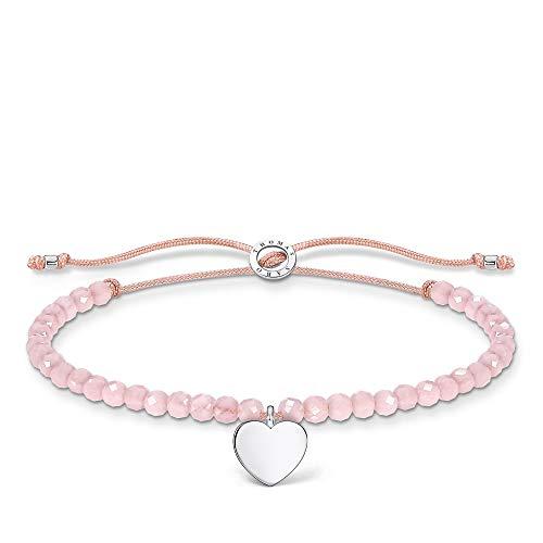 Thomas Sabo Pulsera de perlas rosas con corazón, plata de ley 925, 13-20 cm de longitud