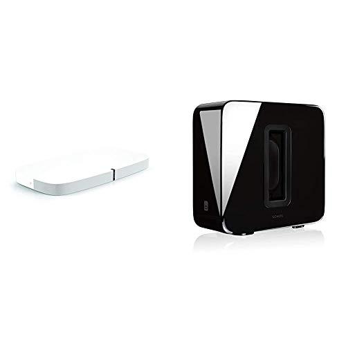 Sonos PLAYBASE Soundbase Wireless per L'Home Theater e Lo Streaming Musicale, Bianco + Sonos Sub Subwoofer Wireless, Integrabile ai Sistemi Sonos, Nero Lucido