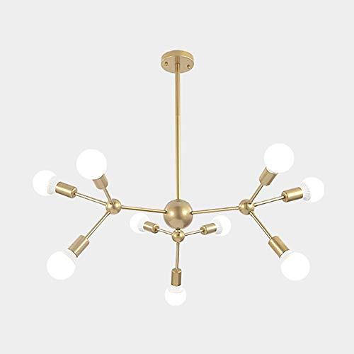 GLLSZ Sputnik Kronleuchter 9-flammig Modern Gold Deckenleuchte Industrielle Vintage Hängelampe Für Esszimmer Küche Wohnzimmer Schlafzimmer-Golden 9-licht