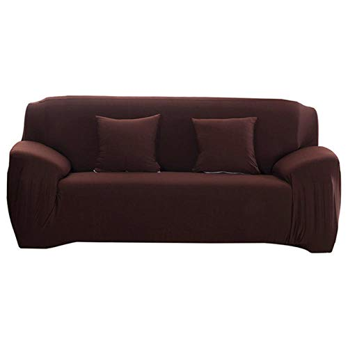 Allenger Stretch Cover L Shape 1/2 / 3/4 Seater,Elasticity Non-Slip Couch Universal Spandex Solid Color Stretch Sofa Covers-Brown_2-Seat and 3-Seat