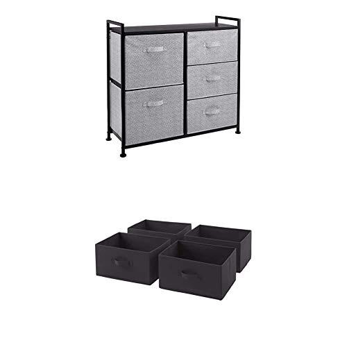 Amazon Basics Unidad de Almacenamiento, de Tela, con 5 cajones, para Armario, Negro + Cajones de Repuesto para Unidad de Almacenamiento de Tela con 5 cajones, Gris carbón