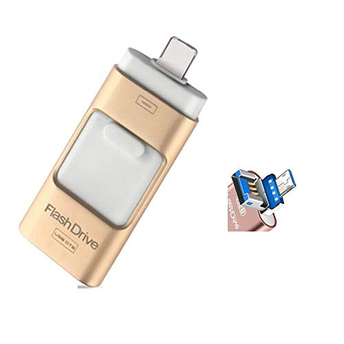 128GB Gold 3.0 USB Flash Drives, for iPhone [3-in-1] OTG Jump Drive, iPad Memory Stick, iOS External Storage Expansion for iOS Android PC Laptops (128GB)